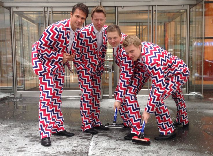 """LAS VEGAS - The sun had set on the Strip and some members of the Norwegian curling team were taking a break from competing in a tournament here.  In a scene straight out of a geekier version of """"Ocean's Eleven,"""" Thomas Ulsrud, the team's skip, wore purple paisley pants with a matching jacket.  Christoffer Svae opted for a tuxedo with a playing card pattern, and Haavard Vad Petersson wore bright pink cotton candy swirls with dots of electric green.  Camera phones, laughter and the drunken…"""