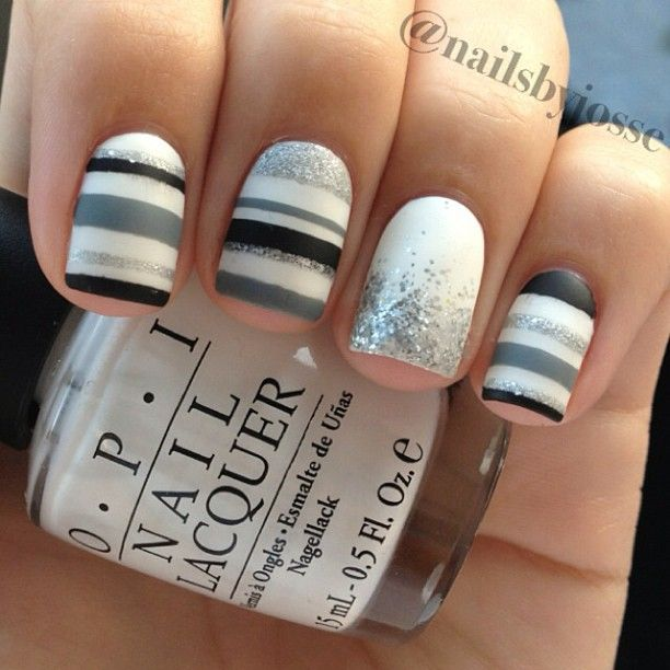 Gray, white, black and glitter nails #nailart #NYE