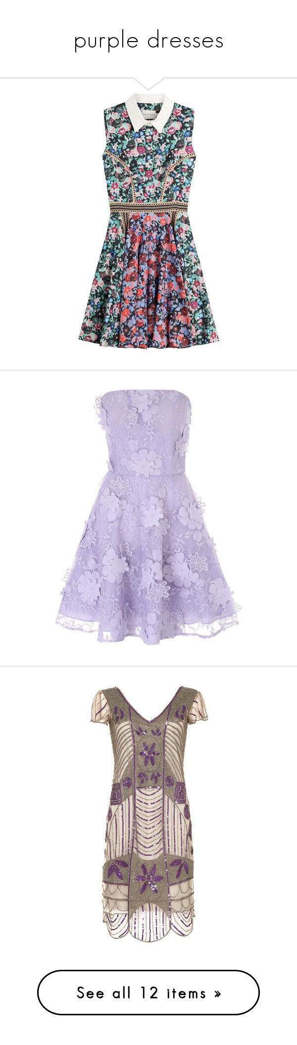 """purple dresses"" by besspredely-da on Polyvore featuring dresses, vestidos, платья, robe, short dresses, florals, scalloped dress, t-shirt dresses, print dresses и retro dresses"