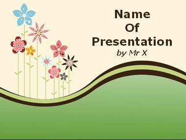 Plantilla Powerpoint de Diapositiva Paisaje floral colorida
