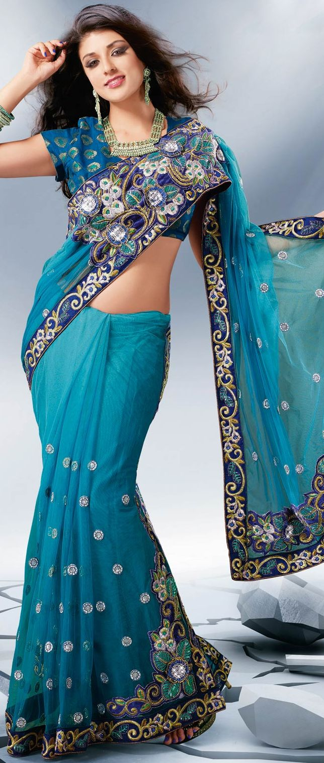 #Blue Net #Saree With Blouse @ $116.48