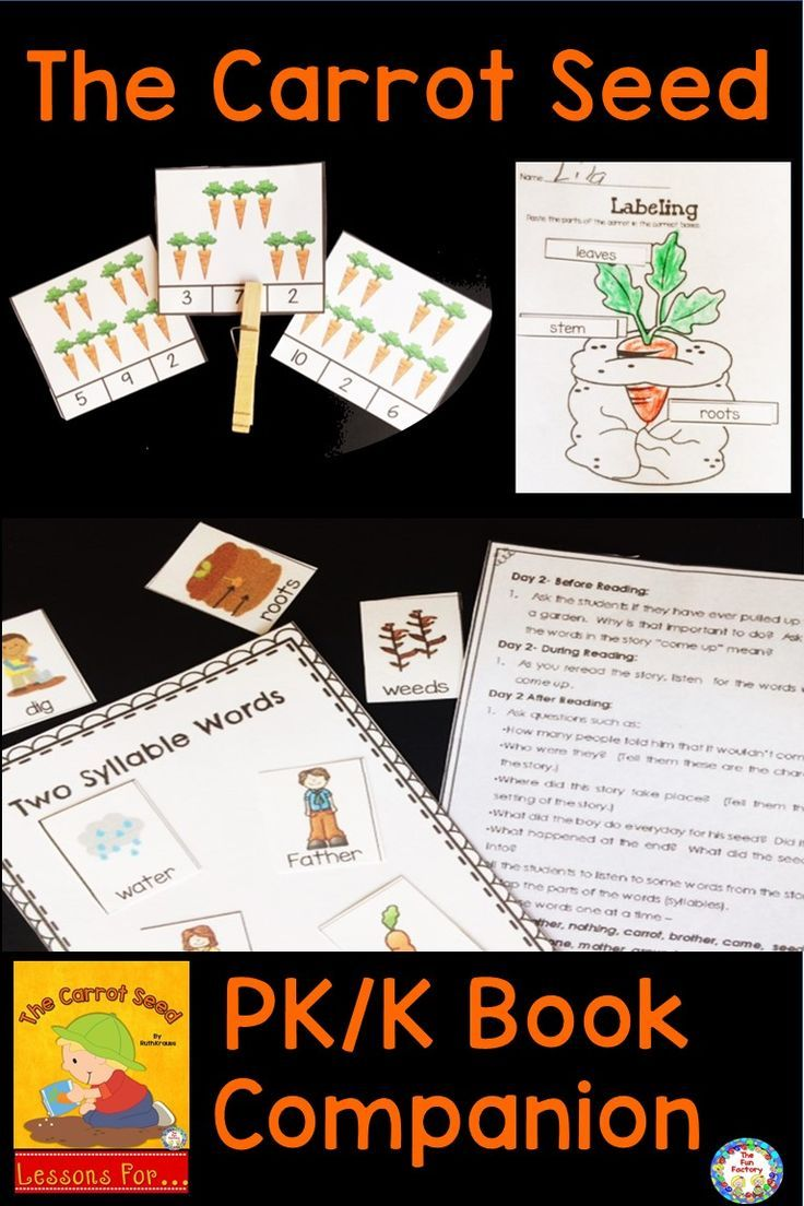 Use This The Carrot Seed Book Companion In The Spring To Introduce Your Pre Kindergaten And Kinderg The Fun Factory The Carrot Seed Activities Preschool Themes [ 1104 x 736 Pixel ]