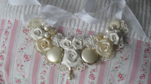 Statement BIB Necklace White/Sepia Hand Made by RoseChicFriends, $29.99: White Sepia Hands, Kongr, Hands Made, Statement Bibs, Clever Confect, Necklaces White Sepia, Jewelry Ideas, Bib Necklaces, Bibs Necklaces