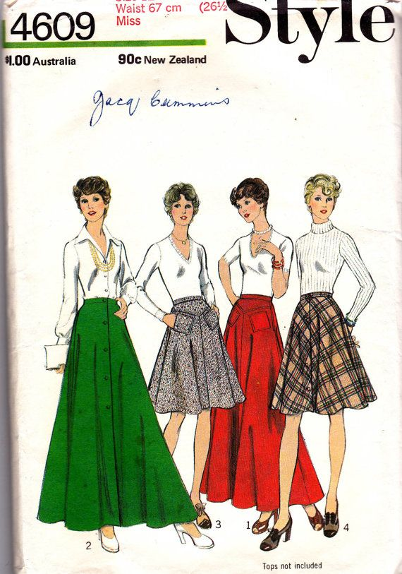 Style 4609 Womens Maxi & Midi Skirts 1970s by allthepreciousthings, $8.00