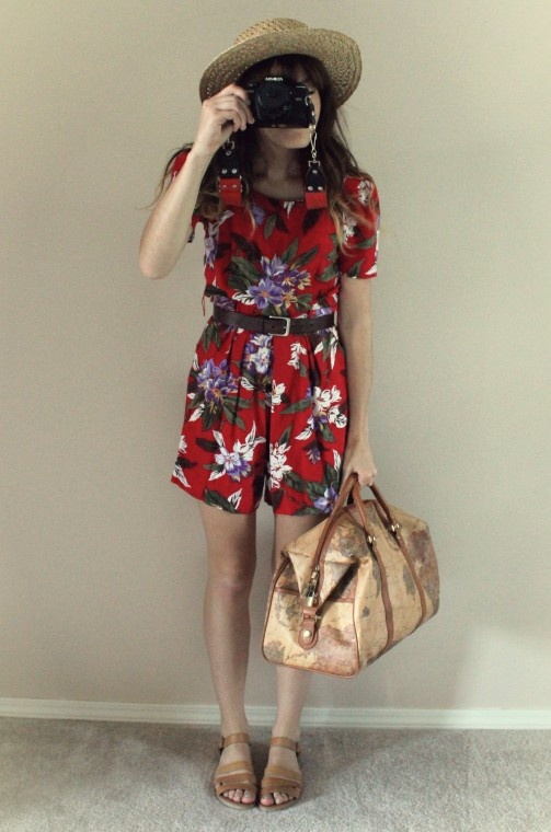 The Moptop. Straw hat. Floral print, playsuit. Strappy, summer sandals.