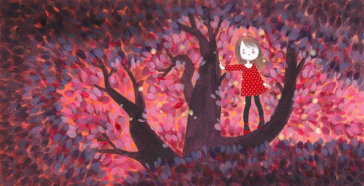 """Ilustración para el libro """"Mi ciruelo"""", Editorial SM. http://florenciaolivos.cl"""