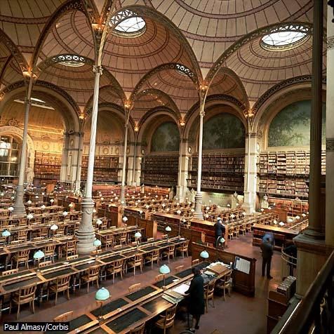 Bibliothèque Nationale Richelieu, salle Labrouste, Paris / National Library Richelieu in Paris.