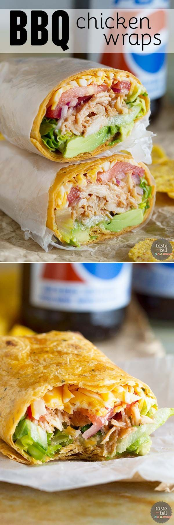 Looking for an uncomplicated lunch idea? These BBQ Chicken Wraps can be ready to go in 10 minutes if you keep shredded chicken on hand!: