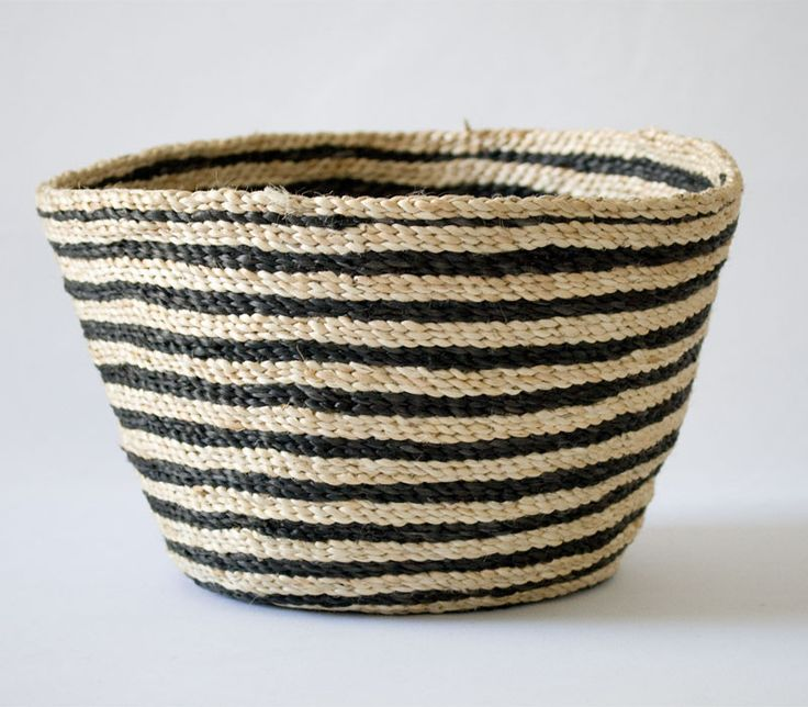 Jute bowl - striped. Great storage idea for knitting, holding bits and pieces by the bed, as a fruit bowl or even as a pot for an indoor plant.