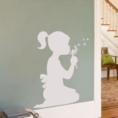 Little Girl with a Dandelion - Wall Decal Cuter idea would be to shine a light on your own children doing fun poses and trace them on the wall...then paint... super cute. Lil girl posing like a ballerina and lil boy playing with blocks...etc. for their bedroom.