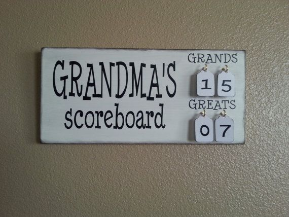 Grandma's Scoreboard with Grands and Greats tally tags grandparent, mother,  father, gift pregnancy