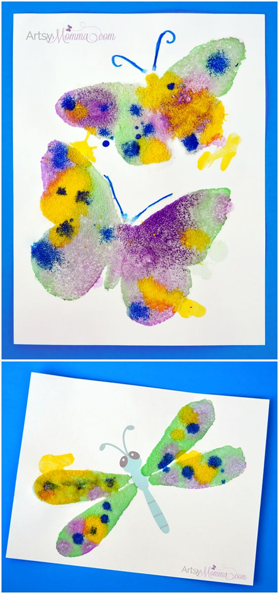 Salt Painting Process Art Activity.  Animal crafts for kids.  Butterfly, Firefly.
