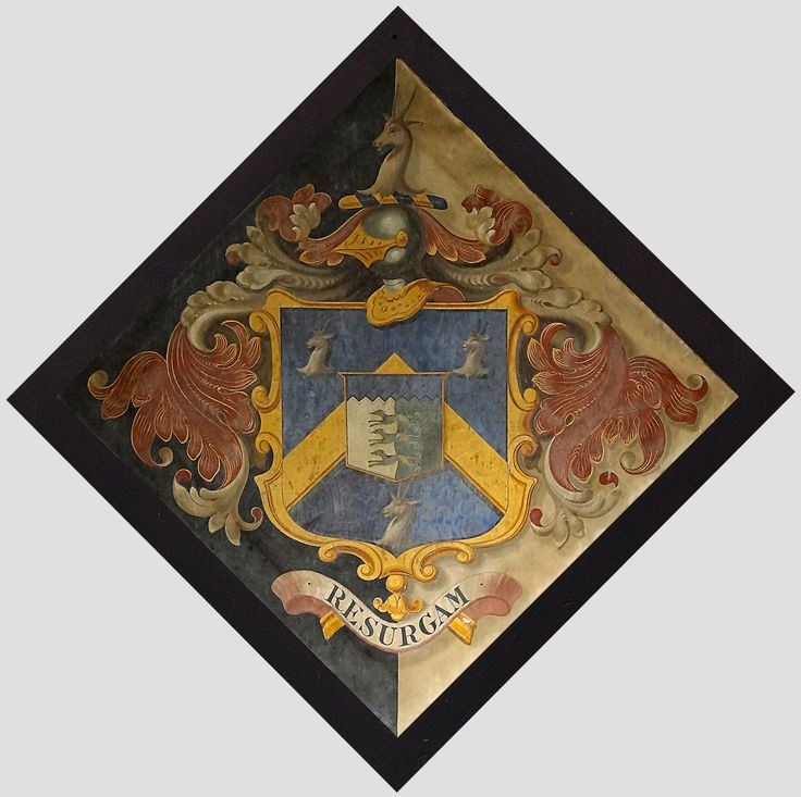 Hatchment in the Church of St. Peter at Matlaske, Norfolk, England - Arms of Dennis Whitaker Gunton, d. 1842