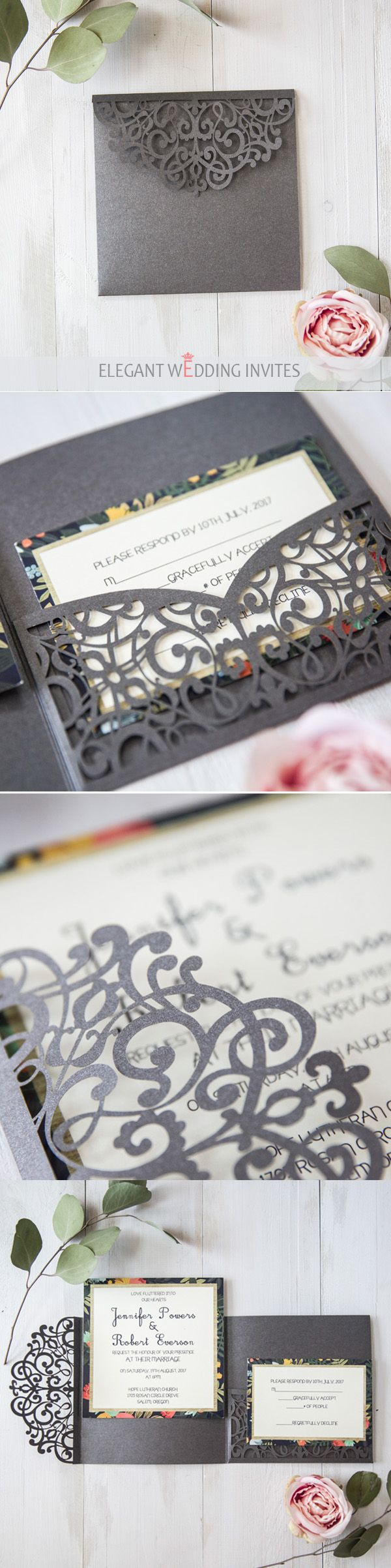 latest dark grey floral laser cut pocket wedding invitations#weddinginvitations #ElegantWeddingInvites