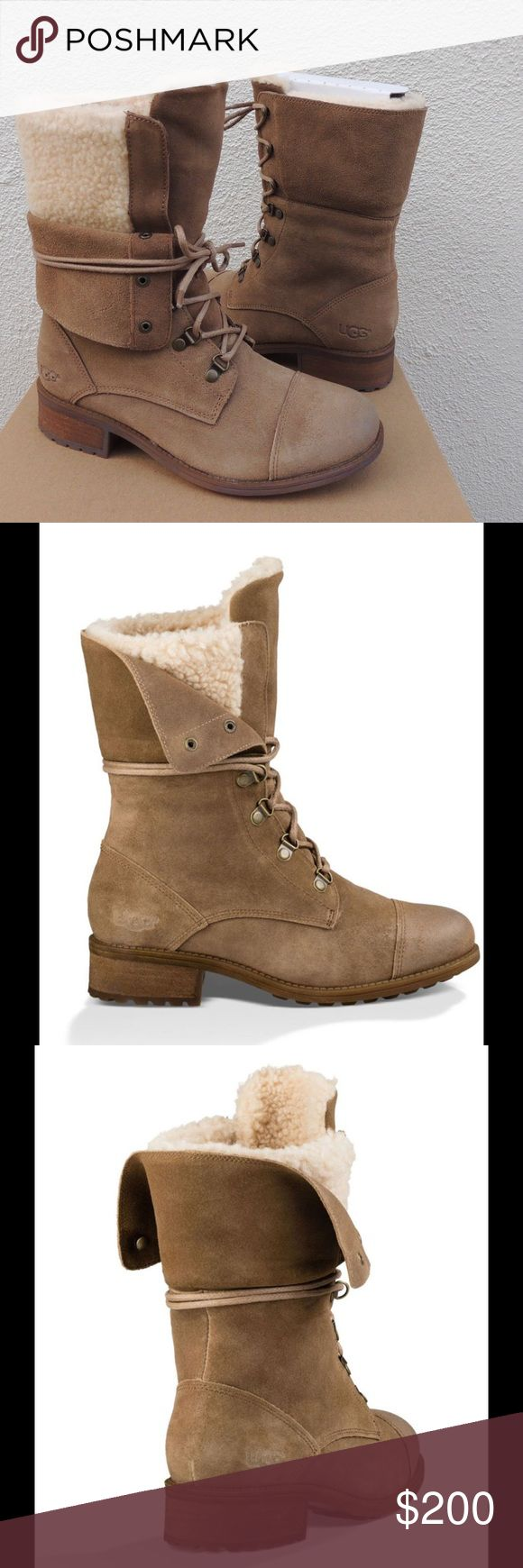 """UGG Gradin Mid Calf Boots New with box. Never worn. Retail $220. UGG's street-meets-military lace-up booties, insulated by a layer of wool that adds warmth without sacrificing style. Foldable collar. Dark Chestnut color. 1.5"""" heel. 8"""" shaft height and 11"""" circumference. Size 6.5. No models/trades. Reasonable offers welcome via offer button. UGG Shoes Winter & Rain Boots"""