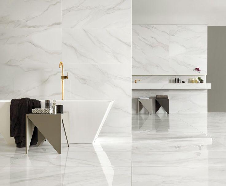 Luxury marble look bathhroom - Using our Portobello Carrara marble tiles