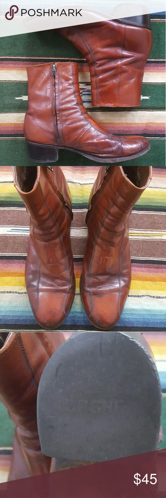 Florsheim 70s Beatle boot These icon vintage boots by Florsheim Imperial are in excellent vintage condition.  Slight creasing around the toes, but the leather, insole, and soles are in good shape.  Both zippers are in good working condition.  Size listed is men's 8D- will also work for a women's 10M. Florsheim Shoes Boots