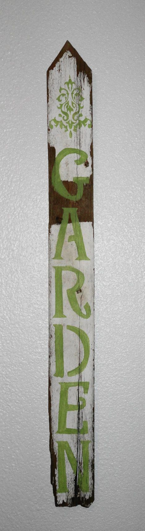 GARDEN Sign  Wooden Picket by AntiqueLoveBirds on Etsy