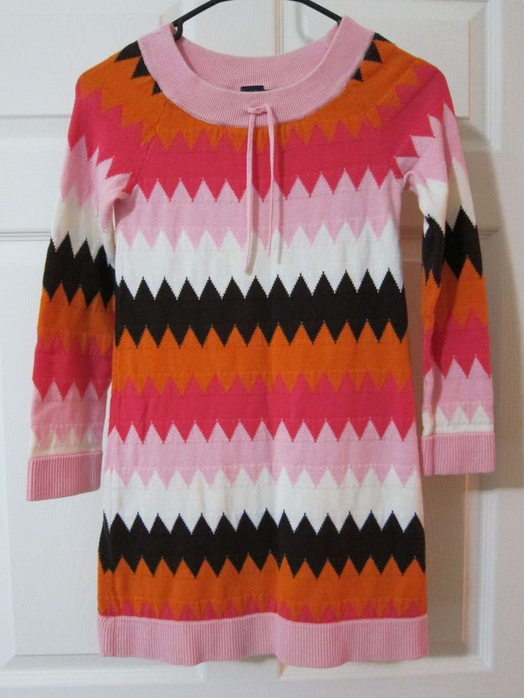 GAP KIDS Sz L 10 Pink Sweater Dress Multi-Color Zigzag 100% Cotton Long Sleeve  #GapKids