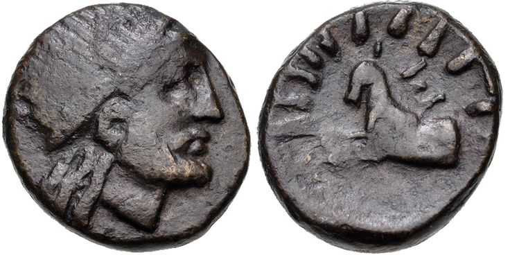 CYCLADES, Keos. Karthaia. Late 3rd-early 2nd century BC. Æ (15.5mm, 4.81 g, 6h). Radiate head of Aristaeus right / Forepart of dog (Seirios) left, surrounded by rays. Papageorgiadou-Banis Series II, Issue 9; SNG Copenhagen 622. VF, brown patina.  Ex Classical Numismatic Group 60 (22 May 2002), lot 594 (part of).  The Dog Star Seirios (Sirius) was associated with the heat of summer, drought, and pestilence. The heliacal rising of Seirios occurred shortly before the summer solstice, and the pe
