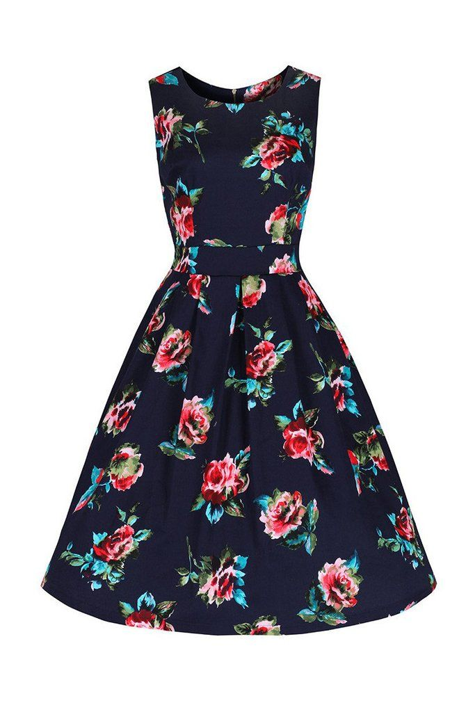 Navy Blue Floral Audrey Swing Dress