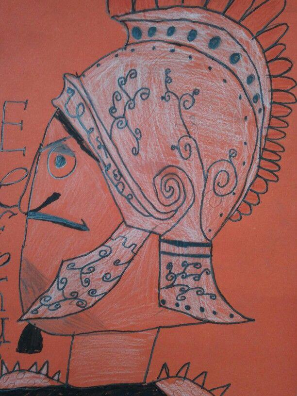 Teken jezelf als Romein, schrijf je geboortedatum in Romeinse cijfers en maak je naam Romeins ( Nathalie wordt: Nathalinia en Pepijn wordt; Pepinius). Getekend op roodbruin papier met zwarte stift en wit kleurpotlood. Ik heb de kinderen een uitdraai van Romeinse kostuums gegeven ter inspitatie. Sinds we dit in de klas hebben gedaan tijdens het project over de Romeinen spreken de kinderen elkaar aan met hun 'Romeinse' naam!