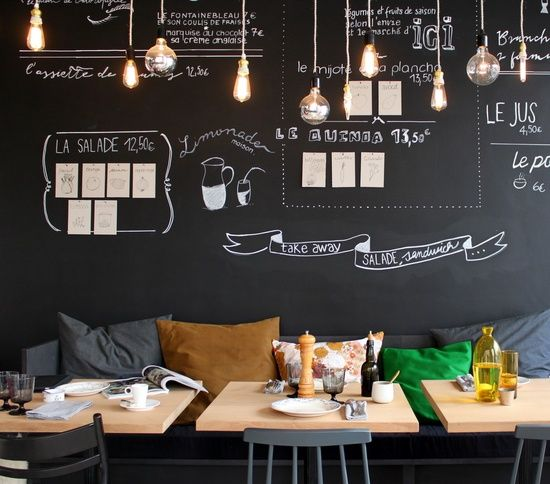 Home Design Ideas Blackboard: The Chalkboard And Cushions Along The Bench Give This Cafe