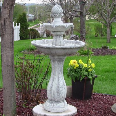 Sunnydaze 2 Tier Arcade Solar On Demand Outdoor Water Fountain With Led Light White Finish 45 Inch Tall