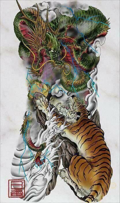 Japanese Style Body Art Full Body Tattoo Art Piece Dragon Tiger