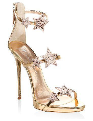"""coline crystal embellished leather sandals by Giuseppe Zanotti. Leather sandals trimmed with Swarovski crystals. Stiletto heel, 4.25"""" (110mm).Leather upper. Open toe. Back zip closure. Leather lining and sole. Made in Italy. #giuseppezanotti #nudeshoes #sandals"""
