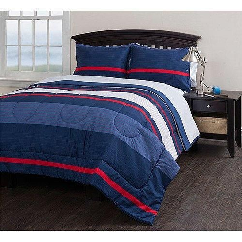 5 Piece Blue Red White Boys Rugby Stripe Pattern Twin Comforter Set With Sheets Beautiful Coastal Striped Theme Blue Bedding Sets Comforter Sets Twin Bed Sets