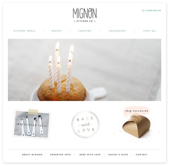 clean, simple, sensible. beautiful photography. http://www.mignonkitchenco.com/