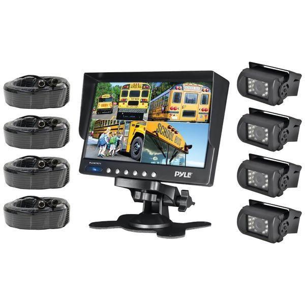 "Pyle PLCMTR74 7"" Weatherproof Backup Camera System with 4 IR Night Vision Cameras"