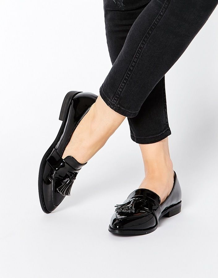 $42, Daisy Street Black Patent Tassel Flat Loafer Shoes. Sold by Asos. Click for more info: https://lookastic.com/women/shop_items/327770/redirect