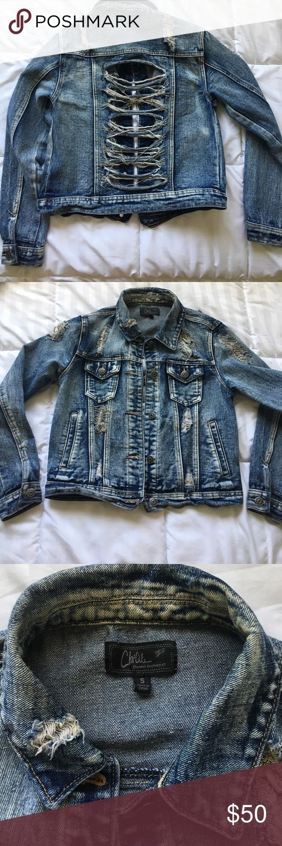 Distressed Jean Jacket A distressed jean jacket with silver chains. I absolutely LOVE this jacket but its time to let it go💕 Got it in a boutique online. Please no lowball offers. First two pictures are used to show how it looks on. Its is NOT that color. Zara Jackets & Coats Jean Jackets