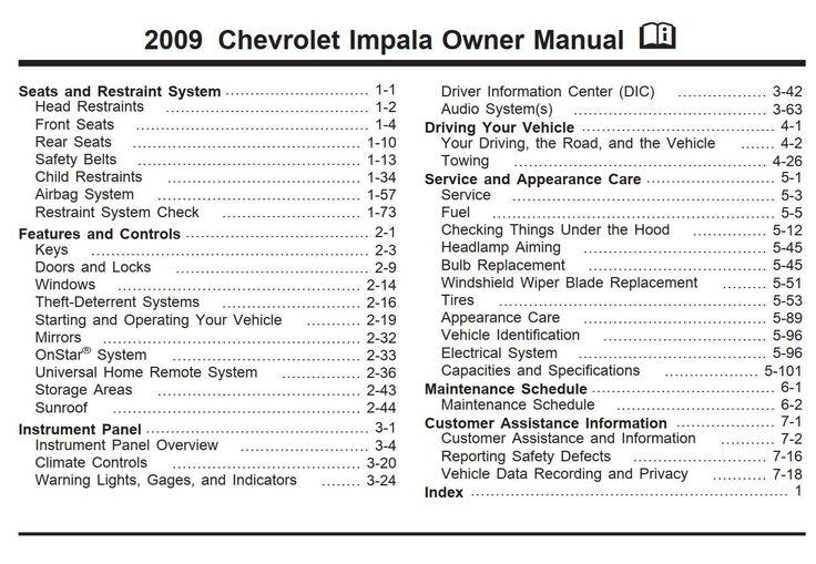 Chevrolet Impala 2009 Owner S Manual Has Been Published On Procarmanuals Com Https Procarmanuals Com Chevrolet Chevrolet Aveo Owners Manuals Chevrolet Impala