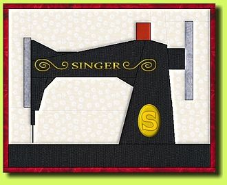 Singer Sewing Machine paper pieced block.  Love it! How hard is paper piecing?