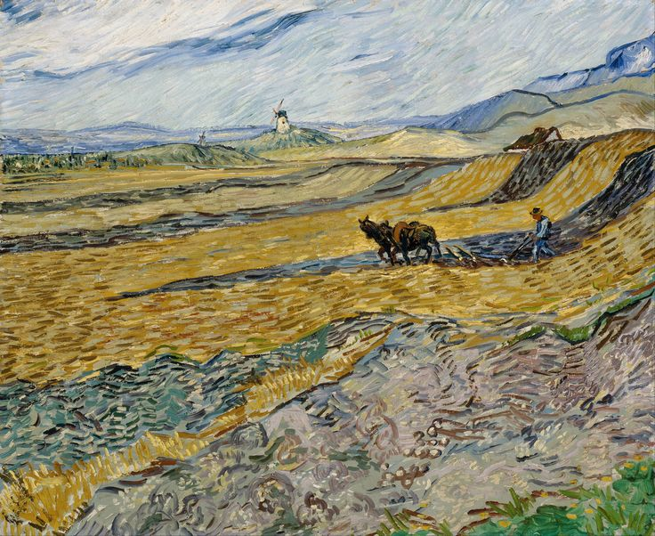 Vincent Van Gogh Enclosed Field With Ploughman Poster
