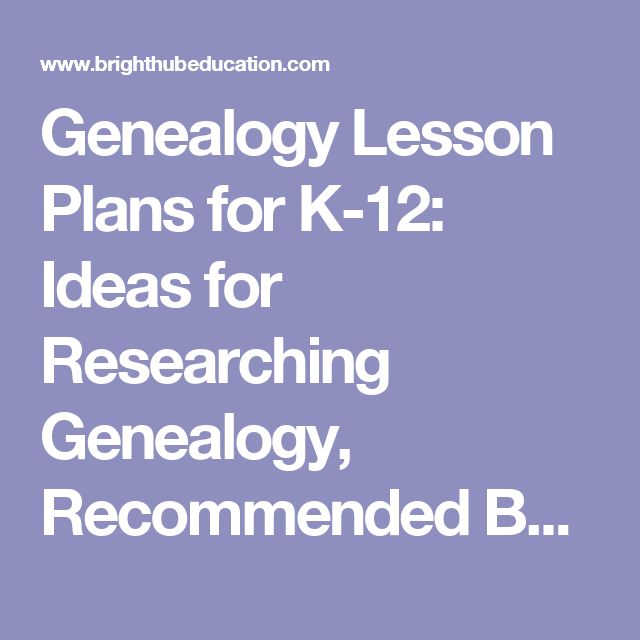 Genealogy Lesson Plans for K-12: Ideas for Researching Genealogy, Recommended Books, and Assignments