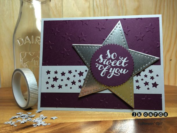 Stampin' Up!, Freshly Made Sketches 152, Hello There, Smoky Slate Stampin' Emboss Powder, Silver Foil Sheet,  Stars Framelits, Starburst Framelits, Lucky Stars Embossing Folder, Confetti Stars Border Punch, Eclectic Paper-Piercing Pack