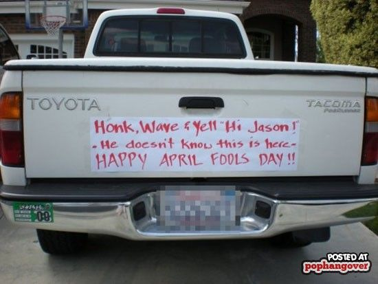 funny prank on back of truck honk and say hi jason he doesn't know this is here