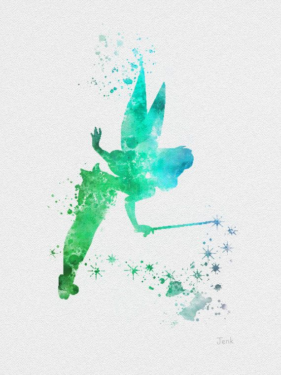 "Tinker Bell Fairy, Peter Pan ART PRINT 10 x 8 ""illustration, Disney, technique mixte, Home Decor, pépinière, Kid, rouge"