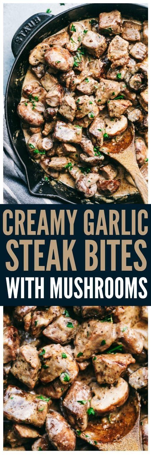 CREAMY AIL STEAK MORS WITH MUSHROOMS   – Food