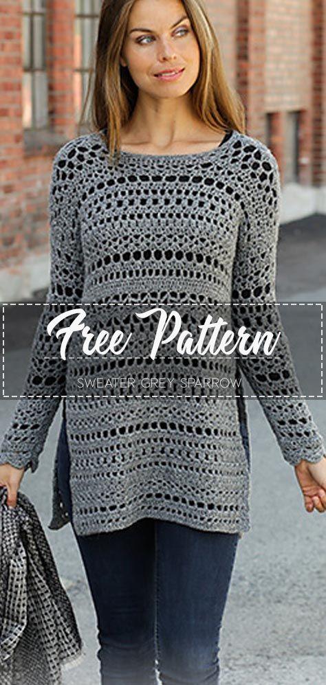 Sweater Grey Sparrow – Free Pattern – Free Crochet 1