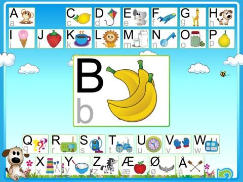 Bogstavspillet.Lær bogstavernes navne og begyndende stavning. Appen koster 18 kr
