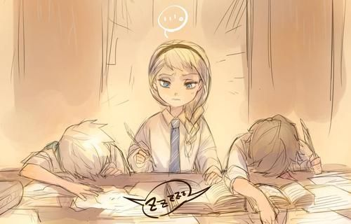 "Elsa is studing when Jack and Hiccup are... Well... Sleeping. ""Boys..."""