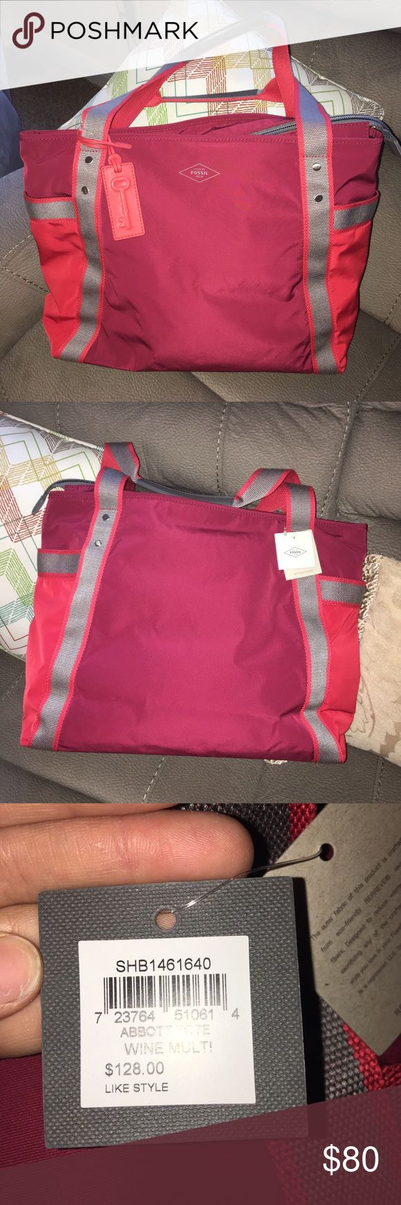 New Fossil Abbott nylon tote bag Brand new with tags! Comes from a smoke free home! This bag is made from 9 recycled plastic bottles! There is pockets on each side of the bag to hold more belongings! Perfect as a beach bag or as diaper bag! Fossil Bags Totes