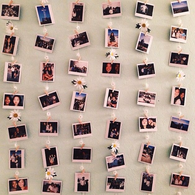 POLAROID WALL! A cute little way to hang Polaroids up; different from the ordinary