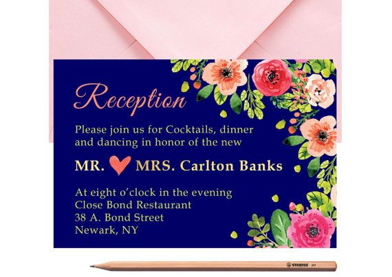 Rustic WEDDING RECEPTION Invitation Card by LoveArtsStationery