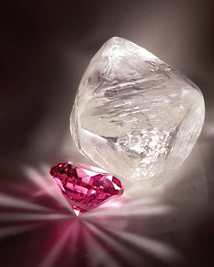 Diamonds _ made of carbon atoms, are the hardest natural substance found on Earth. Formed under extremely high pressure hundreds of miles underground, they are found in very few locations around the world. Diamond is the hardest mineral. Rubies are formed of a mineral called corundum, comprised of aluminum oxide. The red color is caused by traces of chromium. Corundum also forms sapphire in many colors, which generally come from trace mixtures of iron, titanium, & chromium.